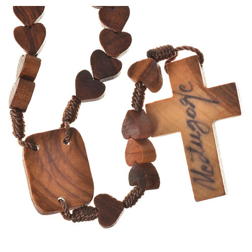 Medjugorje rosary, olive wood, heart grains 2