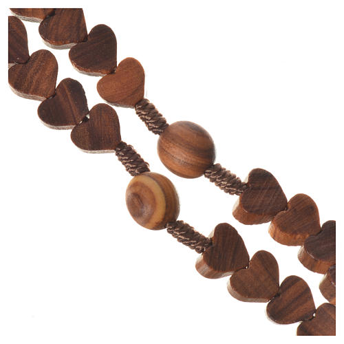 Medjugorje rosary, olive wood, heart grains 3