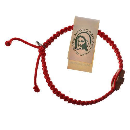 Medjugorje bracelet, cord, olive wood cross 8