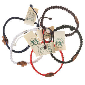 Bracelets, dizainiers: Bracelet corde Medjugorje croix olivier