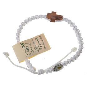 Bransoleta sznurek Medjugorje krzyż drewno oliwne s6