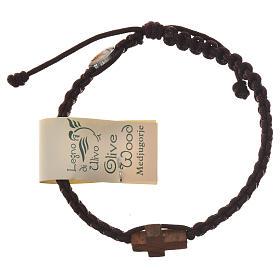 Bransoleta sznurek Medjugorje krzyż drewno oliwne s9