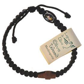 Medjugorje bracelet, cord, olive wood cross s7
