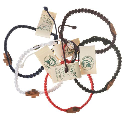 Medjugorje bracelet, cord, olive wood cross 1