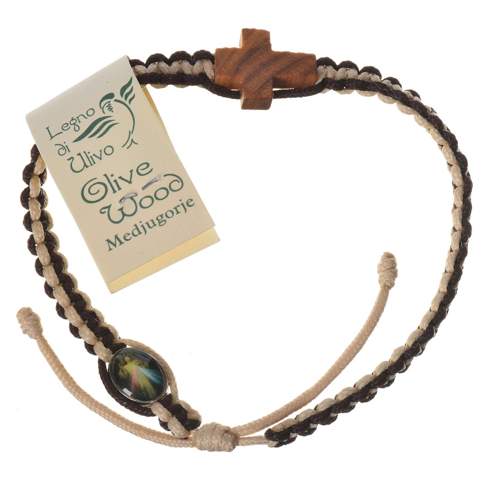 Bracciale corda bianco marrone Medjugorje croce olivo 4