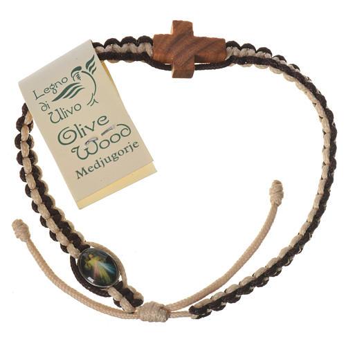 Bracciale corda bianco marrone Medjugorje croce olivo 2