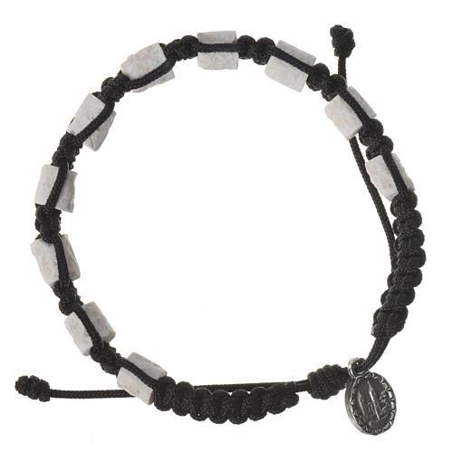 Medjugorje single-decade bracelet, stone and black cord 2