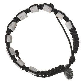 Bracelets, dizainiers: Bracelet dizainier Medjugorje pierre corde noir