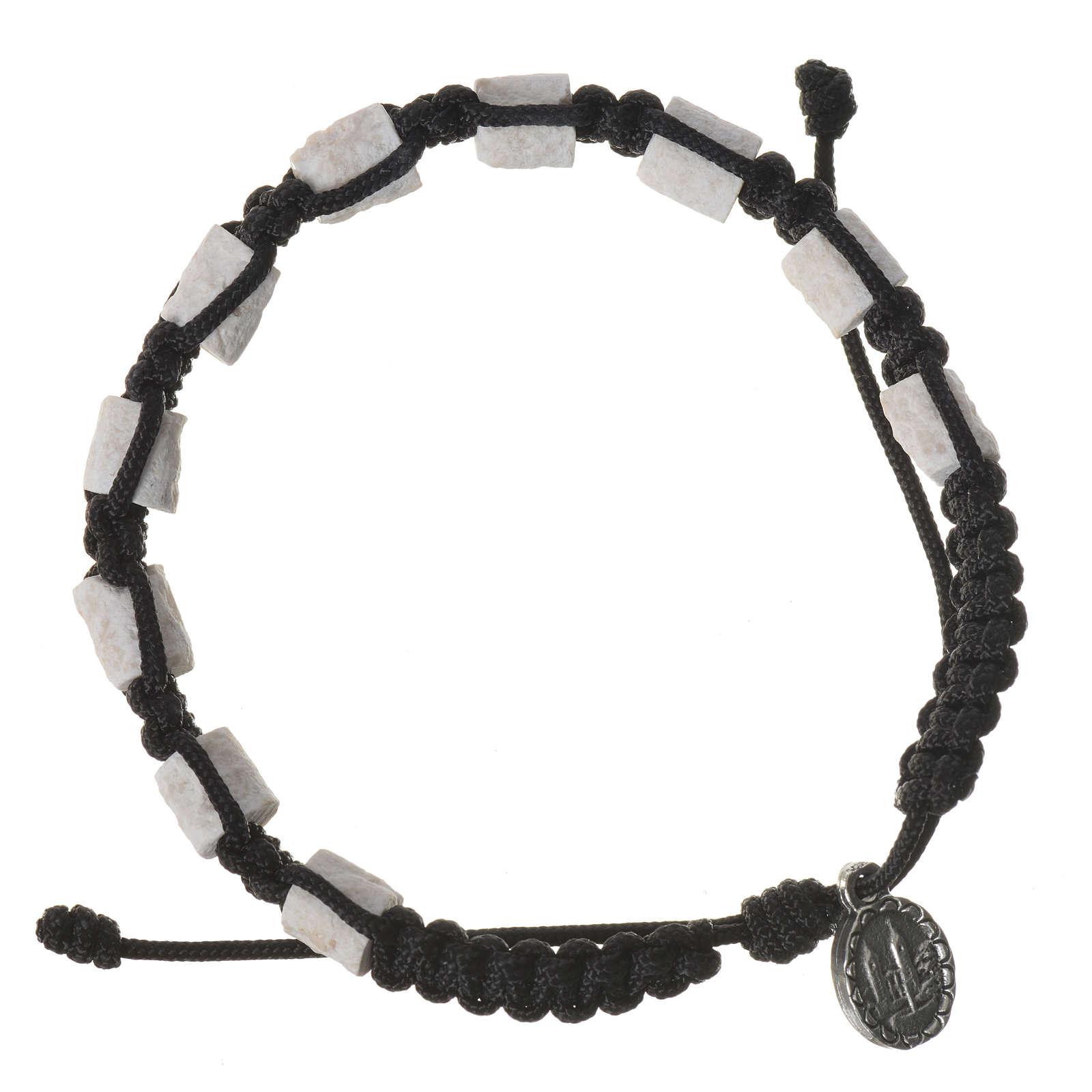 Bracciale decina Medjugorje pietra corda nera 4