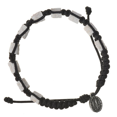 Bracciale decina Medjugorje pietra corda nera 2