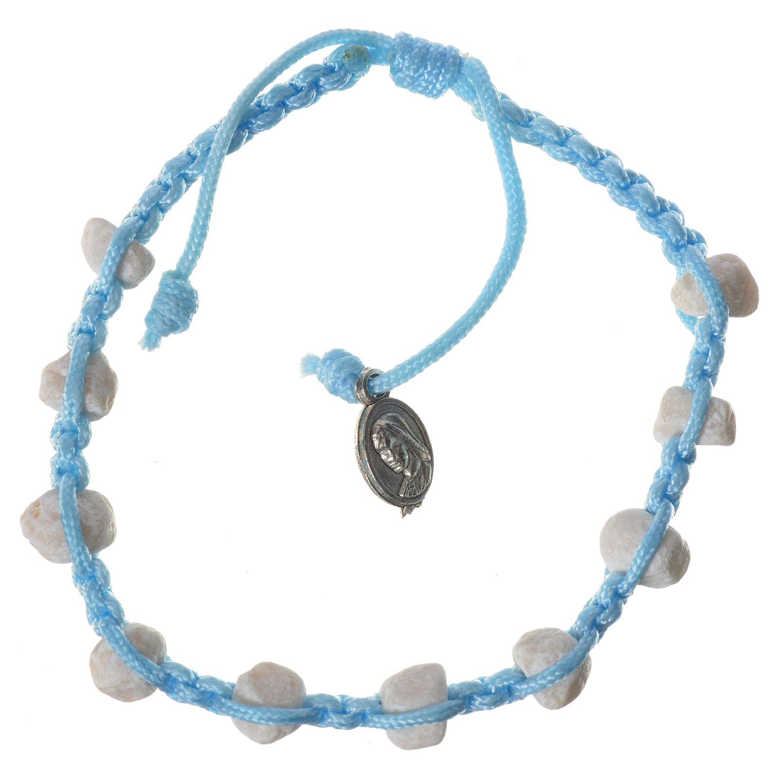 Bracciale decina Medjugorje pietra corda azzurra 4