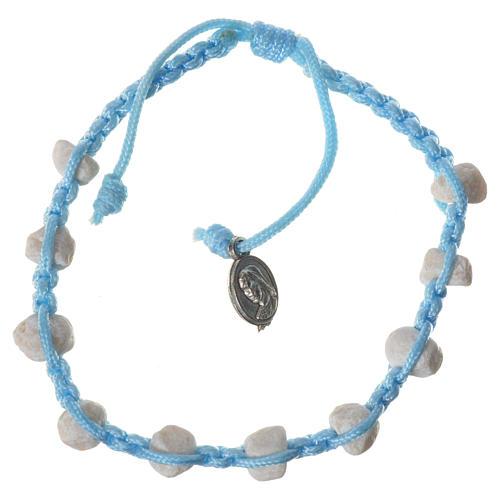 Bracciale decina Medjugorje pietra corda azzurra 1