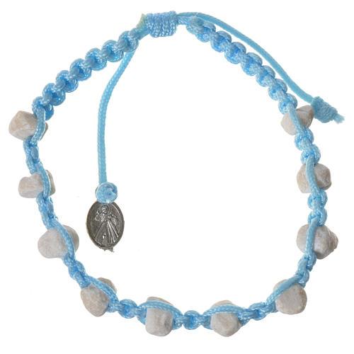 Bracciale decina Medjugorje pietra corda azzurra 2