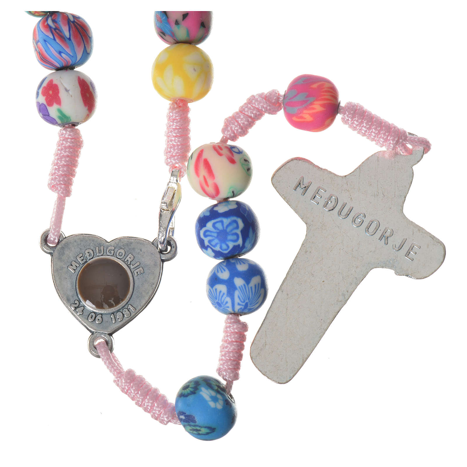 Medjugorje rosary in multicoloured fimo, pink cord 4