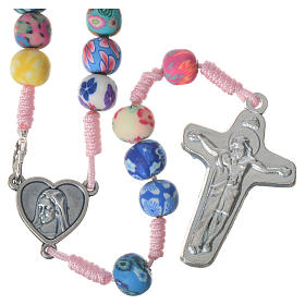 Medjugorje rosary in multicoloured fimo, pink cord s1