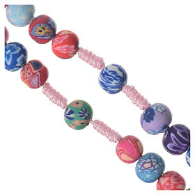 Medjugorje rosary in multicoloured fimo, pink cord s4