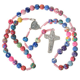 Medjugorje rosary in multicoloured fimo, pink cord s5
