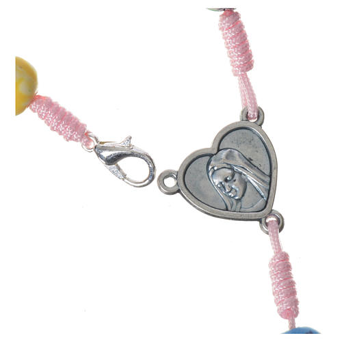 Medjugorje rosary in multicoloured fimo, pink cord 3
