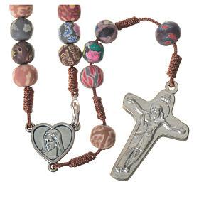 Medjugorje rosary in multicoloured fimo, brown cord s1