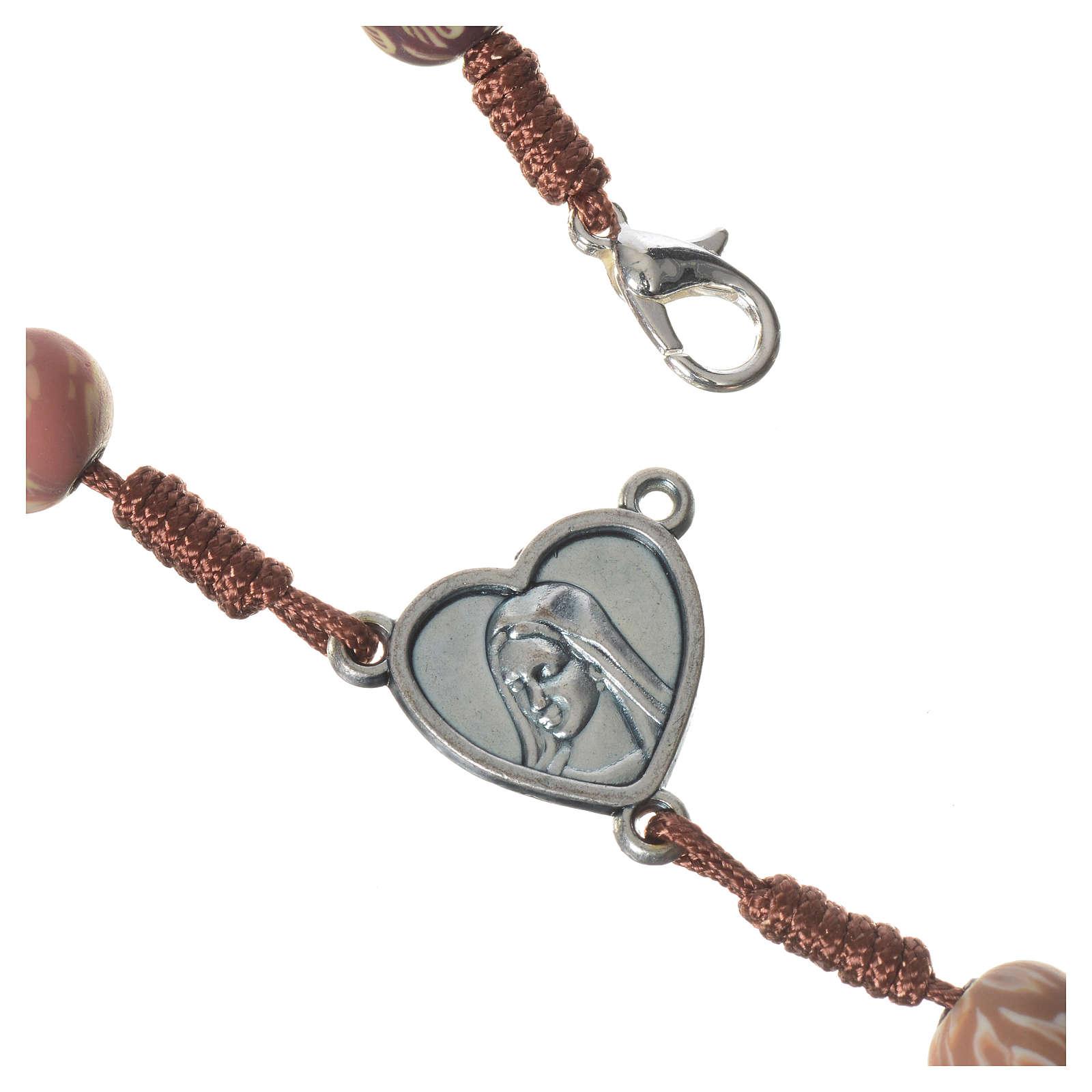 Różaniec Medjugorje fimo różnokolorwy sznurek brązowy 4