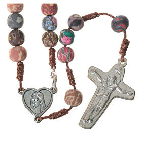 Medjugorje rosary in multicoloured fimo, brown cord s1