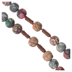 Medjugorje rosary in multicoloured fimo, brown cord s3