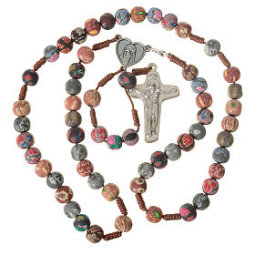 Medjugorje rosary in multicoloured fimo, brown cord s5