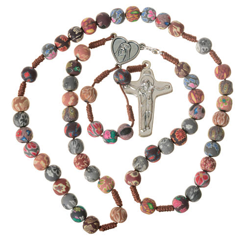 Medjugorje rosary in multicoloured fimo, brown cord 5