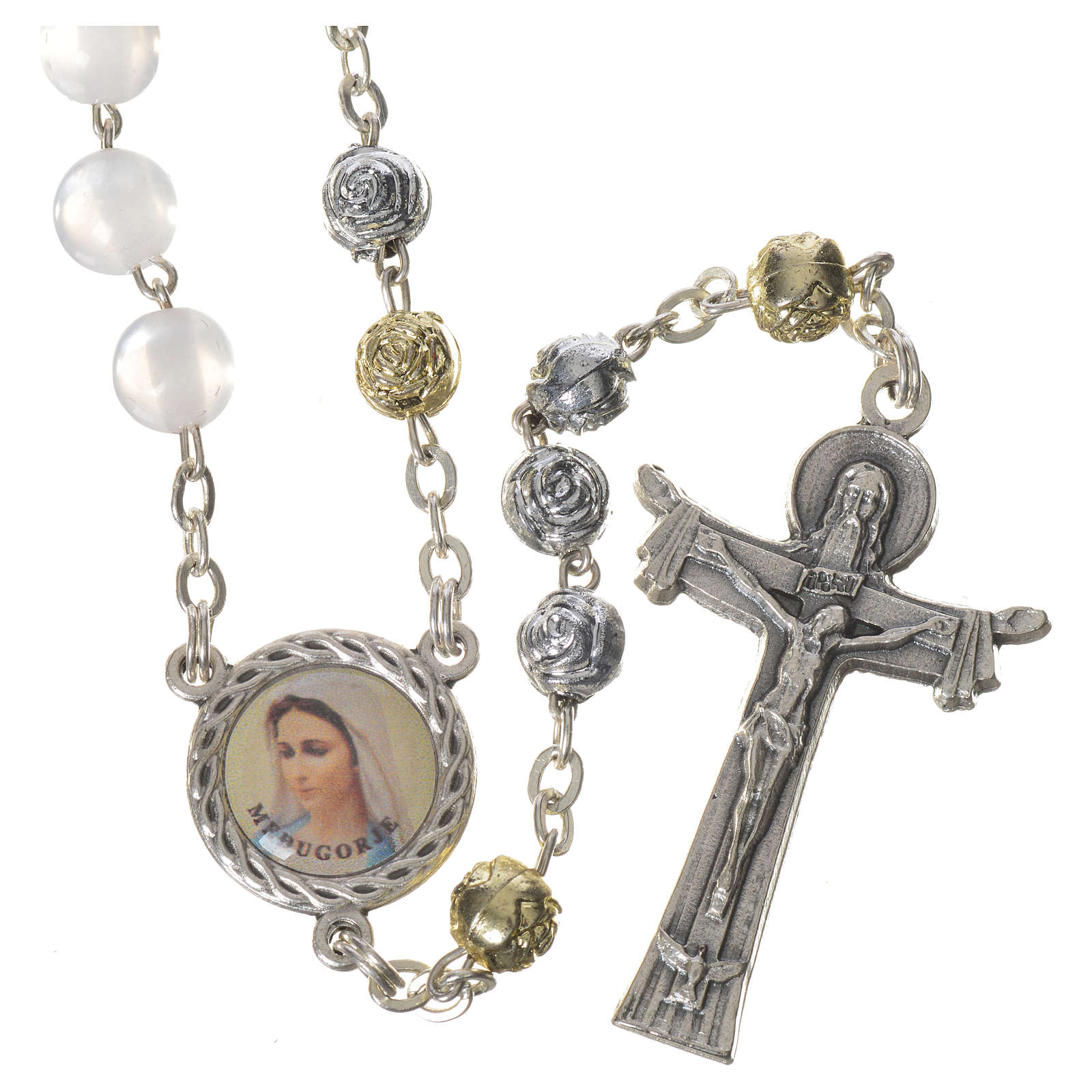 Pearly Medjugorje rosary with Holy Spirit 4