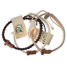 Bracelet corde Medjugorje croix olivier différents coloris s1