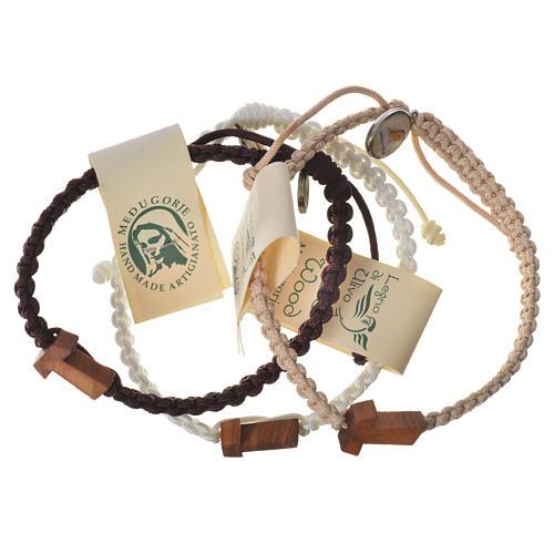 Bracelet corde Medjugorje croix olivier différents coloris 1