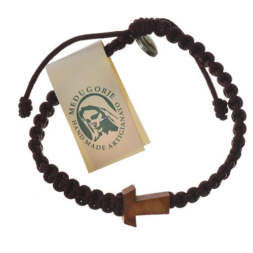 Bracelet corde Medjugorje croix olivier différents coloris 5