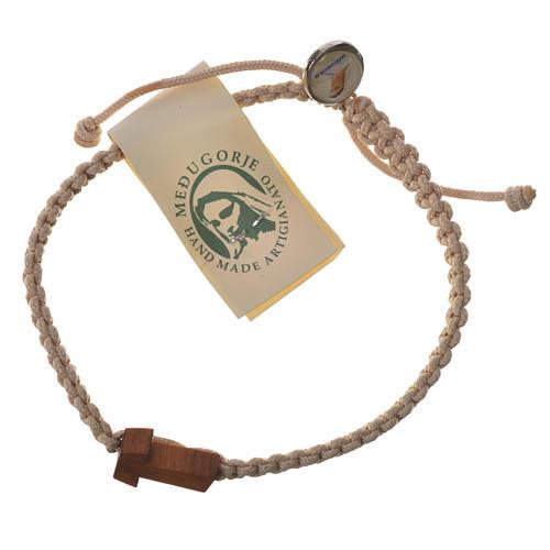Bracelet corde Medjugorje croix olivier différents coloris 6