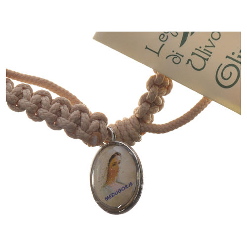 Medjugorje bracelet, coloured cord and olive cross 3