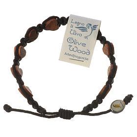Medjugorje bracelet, black cord and olive heart grains s1