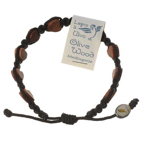 Medjugorje bracelet, black cord and olive heart grains 1