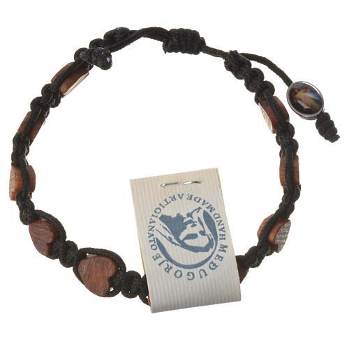 Medjugorje bracelet, black cord and olive heart grains 2