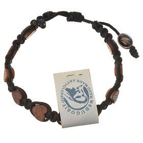Medjugorje bracelet, black cord and olive heart grains s2