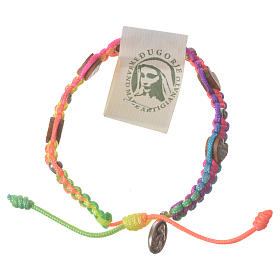 Bracelets, dizainiers: Bracelet Medjugorje corde multicolore coeur olivier
