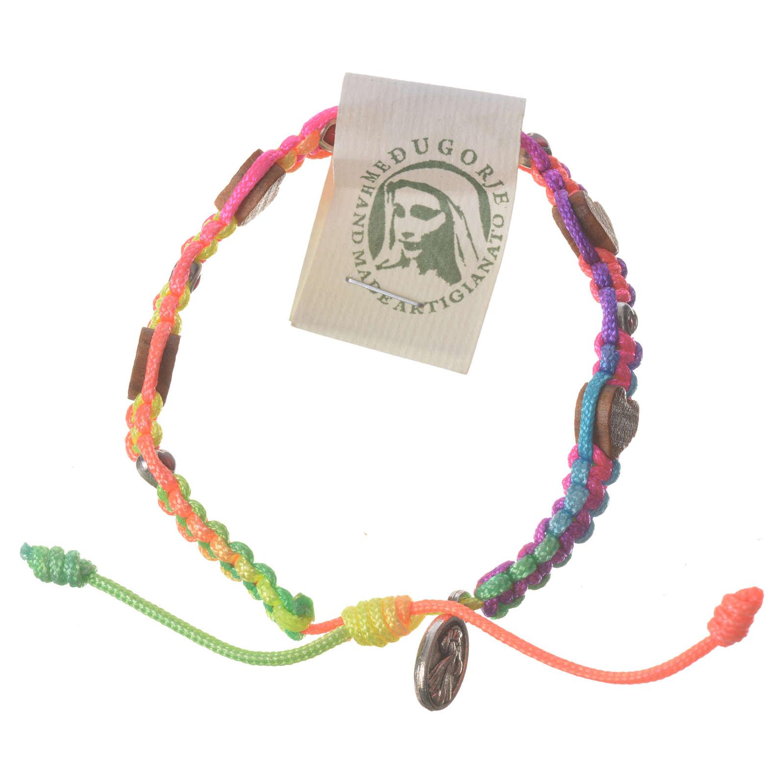 Bracciale Medjugorje corda multicolor cuori ulivo 4