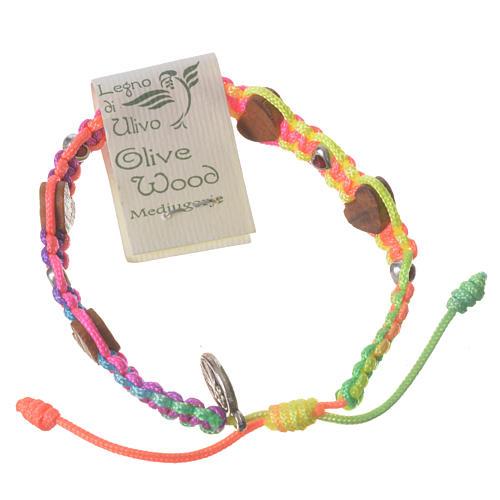 Bracciale Medjugorje corda multicolor cuori ulivo 2