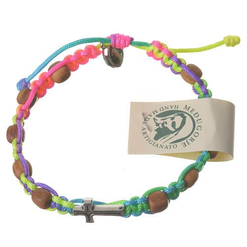 Medjugorje bracelet, multicoloured cord and olive grains 2