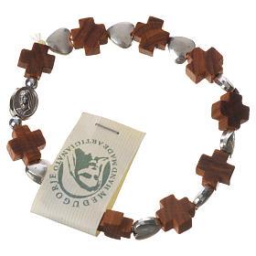 Bracciali, coroncine della pace, decine: Bracciale Medjugorje elastico grani croce ulivo, cuori metallo