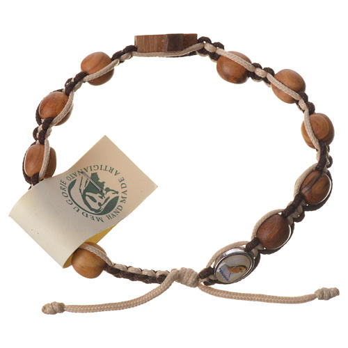 Pulsera Medjugorje cuerda marrón beige cuentas olivo 1