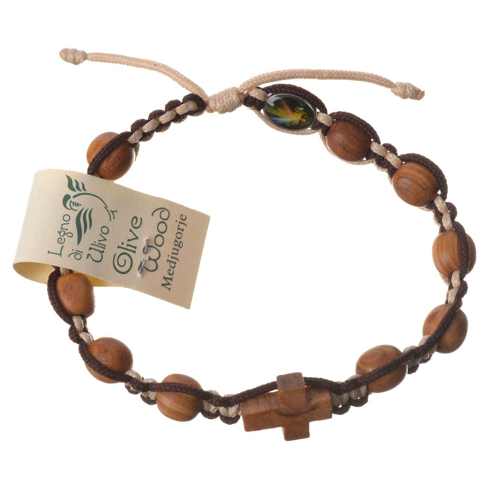 Bracciale Medjugorje corda marrone beige grani olivo 4