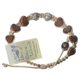 Bracelets, dizainiers: Bracelet Medjugorje corde beige grains olivier coeur