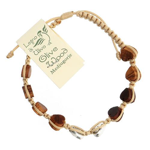 Bracelet Medjugorje corde beige grains olivier coeur 2