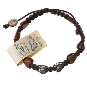 Bracelets, dizainiers: Bracelet Medjugorje corde marron grains olivier coeur