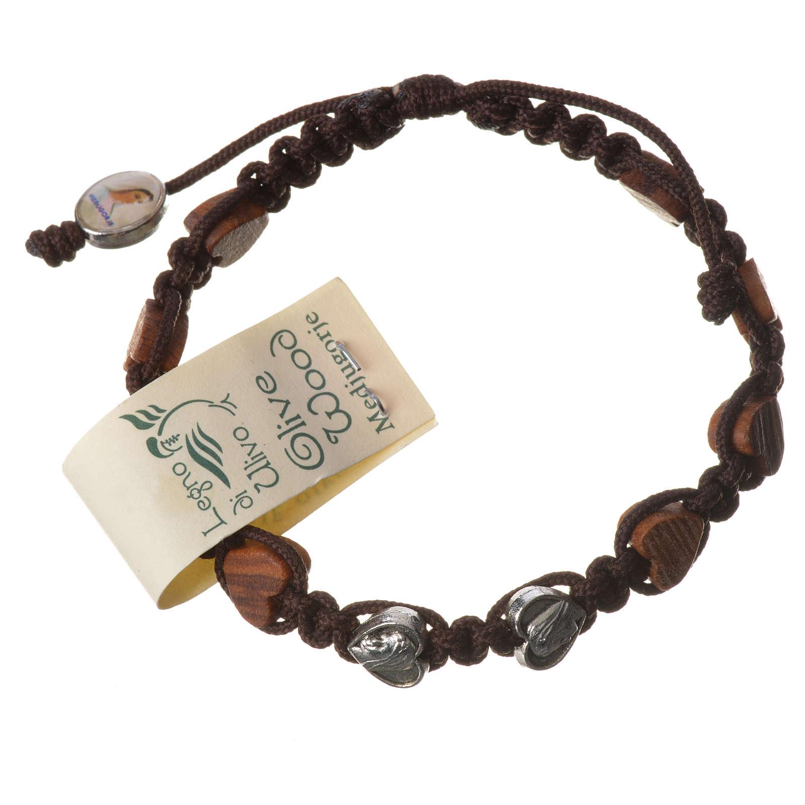 Bracciale Medjugorje corda marrone grani olivo cuore 4