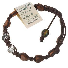 Bracciale Medjugorje corda marrone grani olivo cuore s2